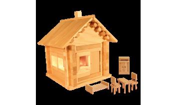 Конструктор Избушка теремок с мебелью и электропроводкой