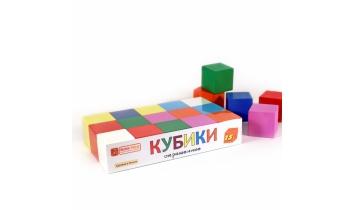 Кубики деревянные, окрашенные 15 шт.