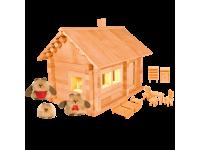 Конструктор Избушка три медведя с куклами, мебелью и электропроводкой