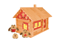 Конструктор Избушка три медведя с куклами, росписью и электропроводкой