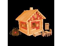 Конструктор Избушка теремок с куклами, мебелью и росписью