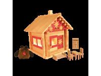 Конструктор Избушка теремок с куклами, мебелью, росписью и электропроводкой